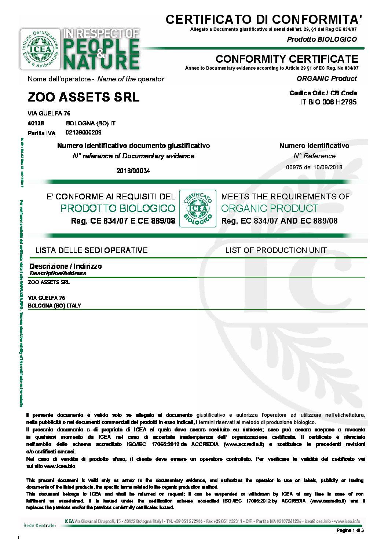 Certificato di conformità BIO set18-mar20