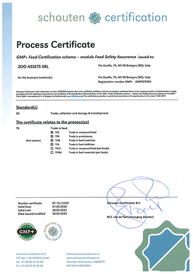Certificate GMP+ FSA ZOO ASSETS SRL 2020
